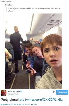 Doctor Who - Harry Potter - Draco, Amy Pond, and the 11th Doctor on a plane haha