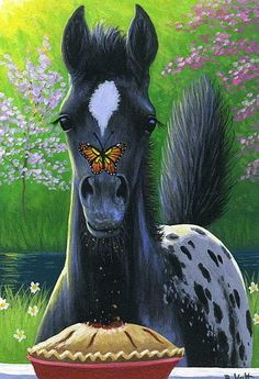 Cute little horse painting with butterfly on his nose. 2016/09/11 Foal - Bridget Voth