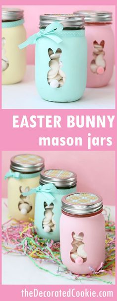 How to paint Easter bunny mason jars! No special machine required.