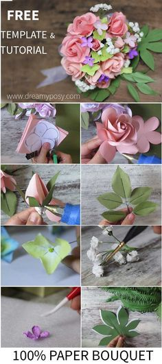 FREE template and full video tutorial for all rose flower, fringed flower (hydrangea and baby breath) and greenery to make your own wedding bouquet, so easy