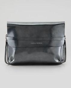 Spazzolato Crossbody Bag, Metallic Gray by Brunello Cucinelli at Neiman Marcus. 49500 he,