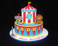 circus birthday cake in pink and yellow Circus Theme Cakes, Carnival Cakes, Themed Cakes, Carnival Costumes, Circus 1st Birthdays, Carnival Birthday Parties, Circus Birthday, 2nd Birthday, Birthday Ideas