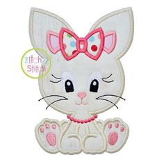 Machine Applique and Embroidery designs. You MUST have an Embroidery Machine to use these designs. Due to the electronic nature of the design NO REFUNDS will be given. You will receive your download link for designs via email in about 5 minutes Design Name: Sitting Bunny Girl 2