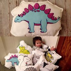 DINOSAUR PLUSH yellow dinosaur plush toddler pillow Toddler Pillow, Toddler Bed, Cute Dinosaur, Child Safety, Make Your Own, Flannel, Cotton Fabric, Plush, Room Decor