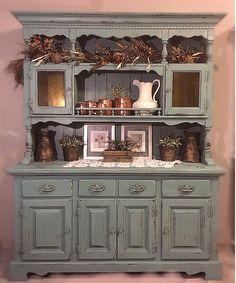 BEAUTIFUL Teal Light Blue Vintage Rustic Hutch Dining Room