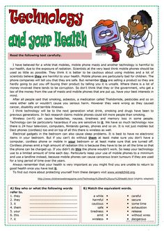 Technology and your health worksheet - Free ESL printable worksheets made by teachers
