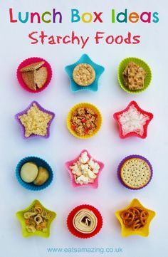 Eats Amazing - Lunch Box Food Ideas - 12 ideas for different starchy foods to include in your lunch box