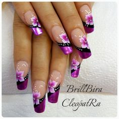Glossy pink foil with flower design nails