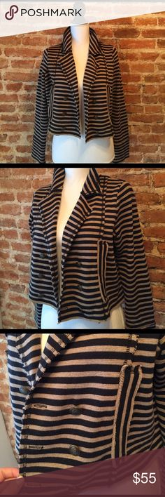 •Free People• Black Boxy Scuba Jacket Free People Black Boxy Scuba Jacket. Striped 100% Cotton Jacket with pockets. Super soft and effortless, in great condition. Buttons up the front of desired. Free People Jackets & Coats