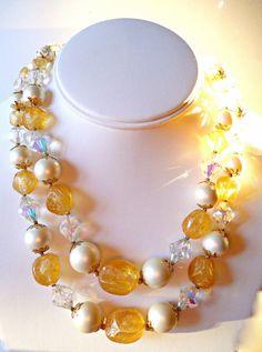 Vendome Necklace 2-Strand Vintage Crystal Faux Pearl Orange Citrine