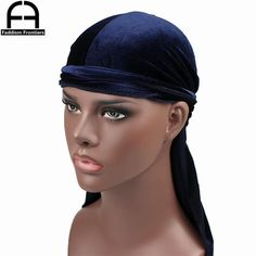 Bandana Turban Hat for Hip-hop and Daily Decoration Silky Satin Headwrap with Long Tail Pirate Cap for 360 Waves 2PCS Velvet Durag and 2PCS Silk Du Rags Headband for Men