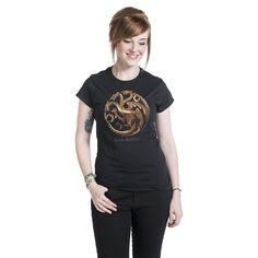 """#Maglia donna """"Bronze Targaryen"""" di #GameOfThrones (Il Trono Di Spade) nera con ampia stampa frontale."""