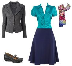 Business Casual Starter Kit Day 42: Gray blazer, turquoise blouse, navy skirt, colorful scarf, black shoes.