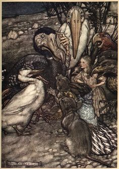 Arthur Rackham's fairy illustrations usually strike me as overwrought, but his Alice illustrations hit a note I like.