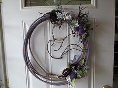 Rustic Wreath -- Cowboy Lasso Rope & Barbed Wire Cowboy Hat w/ Purple. $45.00, via Etsy.