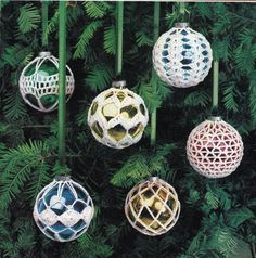 ornament cover crochet patterns | Crochet Christmas Ornament Covers Vintage Crocheting PDF PATTERN