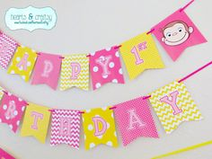 Curious George Happy Birthday Banner Pink & by HeartsandCraftsy