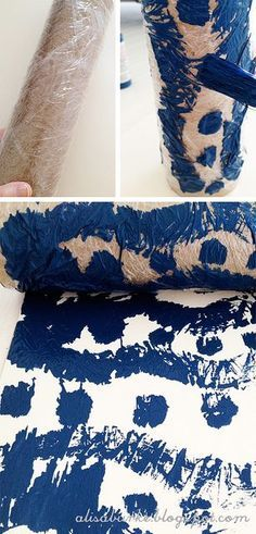 Great ideas for DIY printmaking with kids - wrap paper towel rolls with various items
