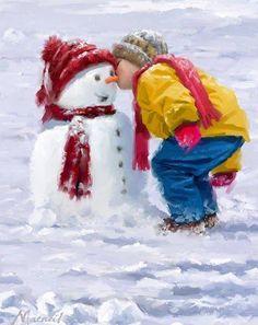 illustrations de richard mcneil - Page 5 Christmas Scenes, Christmas Pictures, Christmas Snowman, Winter Christmas, Vintage Christmas, Winter Images, Winter Pictures, Image Halloween, Snow Art