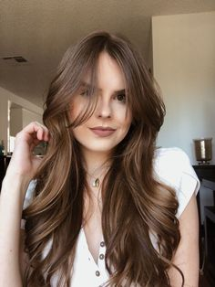 Curtain bangs Best Picture For soft Curtain Fringe For Your Taste You are looking for something, and it is going. Cut My Hair, Long Hair Cuts, Medium Hair Styles, Curly Hair Styles, Hair Medium, Medium Brown, High Fashion Hair, Long Bangs, Long Layers With Bangs