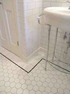 Large hexagonal tiles, less work to cut and grout than small sheets