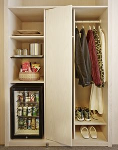 Closet space to hang clothes up & other in-room amenities  The Line Hotel in Koreatown Los Angeles | Remodelista  /  bleached ash wood