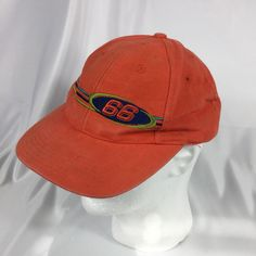 c02148040 Vintage Orange Route 66 Adjustable Strapback Baseball Trucker Hat Cap Logo 7