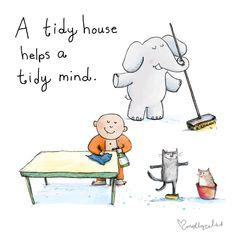A tidy house helps a tidy mind. Tiny Buddha, Little Buddha, Buddah Doodles, Buddha Thoughts, Buddha Quote, Buddha Sayings, Positive Attitude, Illustrations, Life Lessons