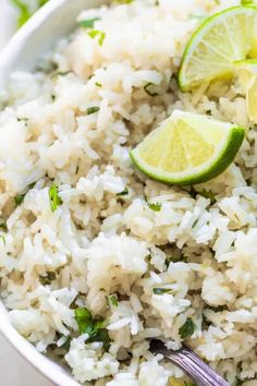 This tender, fluffy rice is flavored with fresh zesty lime juice and chopped cilantro. Perfect for serving alongside chicken, fish, or shrimp. Side Dish Recipes, Rice Recipes, Mexican Food Recipes, Snack Recipes, Cooking Recipes, Recipies, Vegetable Recipes, Cooking Tips, Dinner Recipes