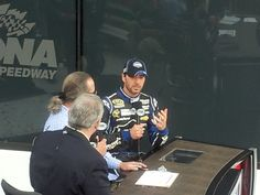 '13 Daytona 500 winner Jimmie Johnson getting ready for interview in and for Victory Lane! (with John Roberts & Kyle Petty)