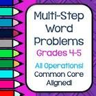 This set of 20 multi-step word problems reflect the Common Core State Standards for grades 4 and 5. Problems are included in THREE formats: -with multiple copies on a page to be cut out and glued into a math journal -on reproducible pages to use as practice sheets (4 problems per page) -and on full sheet pages that give work space for one problem, a place for students to write matching equations, and a lined area for students to explain their work—vital to the CCSS!  $4.95