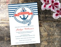 Nautical Baby Shower Invitation Anchor Baby by ThePaperTrailCo