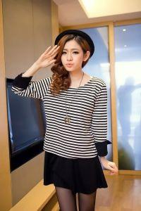 J72801 Japanese Style Stripes Splicing Fake Two Piece Dress