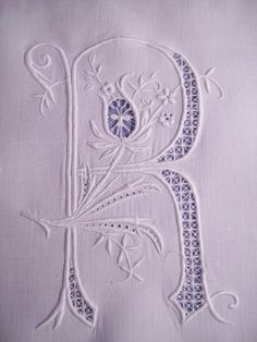 Letter R embroidery
