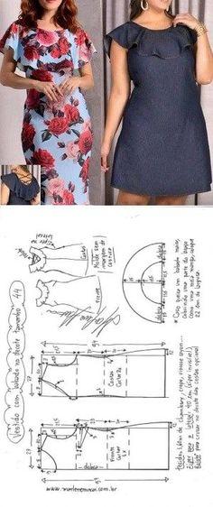 Vestido evasê com babado no decote   DIY - molde, corte e costura - Marlene Mukai