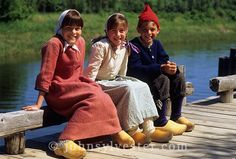 children;traditional costume;Acadian Historical Village;Caraquet;New Brunswick;Canada;historic;heritage;wooden shoes