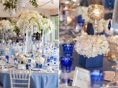 Blue & white centrepieces