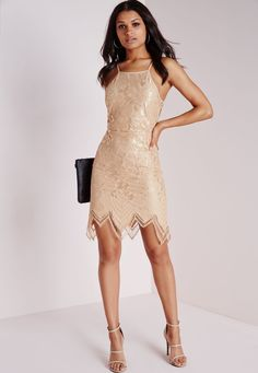 Lace Scallop Hem Back Detail Bodycon Dress Taupe - Dresses - Bodycon Dresses - Missguided