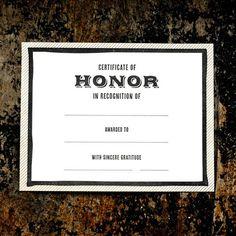 Certificate of Honor! So Cute!
