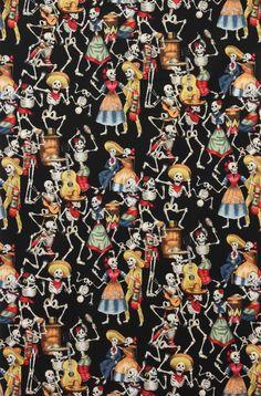 Alexander Henry Fiesta De Los Muertos (skulls) Day of the Dead фото New Mexican, Mexican Art, Mexican Fabric, Skeleton Dance, Skeleton Art, Catrina Tattoo, Mexican Pattern, Conversational Prints, Skull Fabric