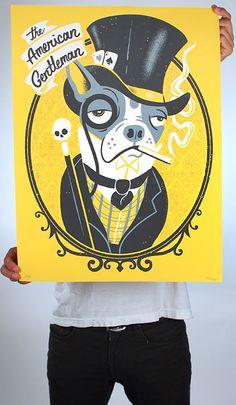 'The American Gentleman Boston Terrier' Variant Print