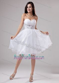 0205312c1a Wholesale Organza Lace-up White Puffy Short Prom Dresses with Rhinestones Prom  Dress 2014