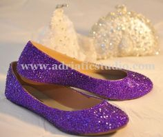 Hand Made Pink Purple Wedding Rhinestone Flats Shoes