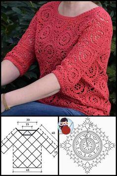 Granny Square Crochet Pattern, Crochet Diagram, Crochet Stitches Patterns, Crochet Motif, Crochet Lace, Crochet T Shirts, Crochet Cardigan, Crochet Shawl, Crochet Clothes