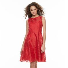 Women's Chaya Illusion Lace Fit & Flare Dress, Size: 14, Lt Orange