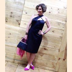Meu look no último dia da SPFW.  Vestido Mabel Magalhães, sapato e bolsa Arezzo, pulseira e brincos Caleidoscópio