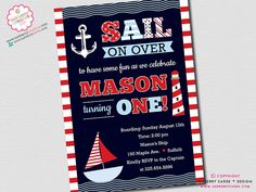 Sail Away Nautical Theme Birthday Party by inkberrycards on Etsy, $16.00