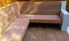 Modern WPC bench in our garden ..