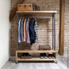 Купить Вешалка водопроводной трубы в стиле Loft - черный, лофт, Мебель, полка…