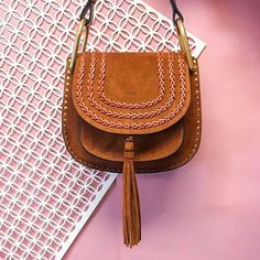 Chloe Small Hudson Suede Cross Body Bag Caramel.   Shop Now: http://www.parlourx.com/